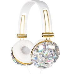 Iridescent Crystal Bling Headphones ($35) ❤ liked on Polyvore featuring accessories, tech accessories, tech, headphones, crystal headphones, sparkly headphones and white headphones