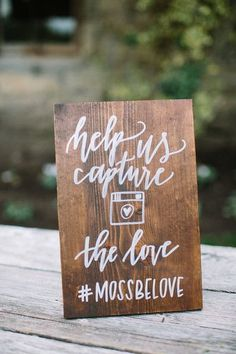 "Modern calligraphy wedding Instagram hashtag sign idea - ""Help us Capture the Love"" - rustic chic calligraphy sign {Lovers of Love Photography} #WeddingAccessories"