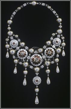 """Necklace """"Jubilee."""" Platinum and gold.  Diamonds - 512 pc. (91.24 ct.) Rubies - 31 pcs. (18.71 carats).  Length 39 cm, height 20 cm, width 16 cm.  Moscow, Russia. 1981"""