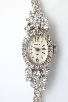 Vintage 2.5 Carat Diamond, G-H Color, Ladies Hamilton Watch in 14K White Gold