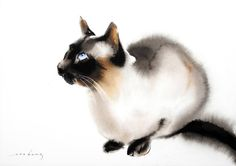 """Mysti"" by Soo Beng Lim. Watercolor Cat, Watercolor Animals, Watercolor Paintings, Acrylic Paintings, Watercolors, Cat Drawing, Painting & Drawing, Painting Abstract, Cute Kittens"