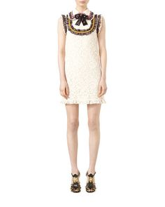 W0CTU Gucci Cluny Lace Dress with Embroidery, Bone