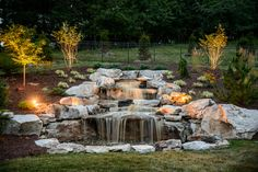 Add outdoor lighting to your pondless waterfall