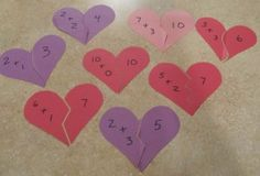 Valentines Day Math Puzzles--could also be done with Fact Families