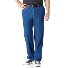 Men's Haggar® Work to Weekend® Classic-Fit Flat-Front Denim Pants, Size: 36X34, Blue