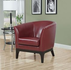 leather look accent chair in red homeclick community