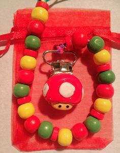 Super Mushroom Pacifier Clip by TheSweetestSmile on Etsy, $6.00