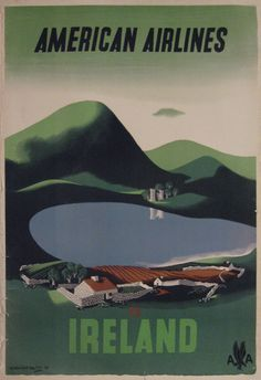 E. McKnight Kauffer; 'American Airlines to Ireland' c. 1953