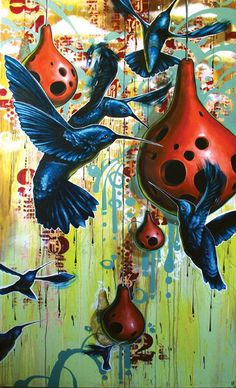 """Blaine Fontana """"The Avant Gaurd of the Midnight Maurader"""" Acrylic on canvas wrapped around wood 84 x 48 inches Art And Illustration, Illustrations, Muse Kunst, Hummingbird Art, Muse Art, Rare Birds, Abstract Nature, Collaborative Art, Traditional Paintings"""