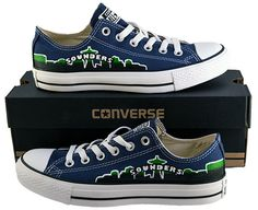 Hand Painted Converse Low Sneakers. Seattle Sounders FC. Soccer. Handpainted shoes. by GenuineTouchDesigns on Etsy https://www.etsy.com/listing/200879412/hand-painted-converse-low-sneakers