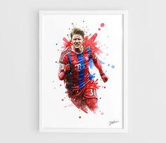 Bastian Schweinsteiger Bayern Munich A3 Wall Art Print Poster of the Original Watercolor Painting Football Posters by NazarArt
