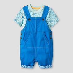 Baby Boys' Bodysuit and Overall Set - Baby Cat & Jack™ Green/Blue