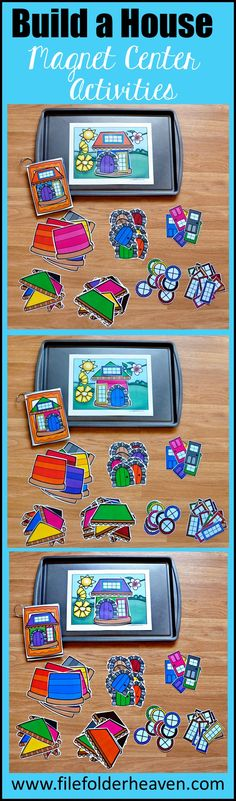 "These Build a House Center Activities can be set up as cookie sheet activities, a magnet center or completed as cut and glue activities. This activity includes: 1 background, 14 house example cards, and a big set of ""build a house"" building pieces for creative building (all in color).  In this activity, students work on visual discrimination skills, recognizing same and different, and replicating a model."
