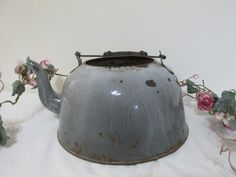 Shabby Tea Kettle Chippy Gray Granite Farmhouse Decor (read details) by LuRuUniques on Etsy