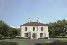 Georgian Inspired Country House - House Plans, Home Plan Designs, Floor Plans and Blueprints Modern Georgian, Georgian Style Homes, French Style Homes, House Outer Design, House Design, Two Storey House Plans, House Front Porch, Architect House, Facade Design