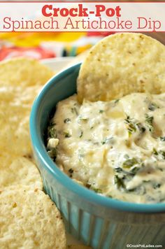 Crock-Pot Spinach and Artichoke Dip - Serve this delicious recipe for Crock-Pot Spinach and Artichoke Dip with your favorite crackers, chips or cut up  vegetables. The perfect warm appetizer for the holidays, game day or just for snacking on with the family! [Gluten Free, Vegetarian, Low Carb & Low Sugar] #CrockPotLadies #Dips #PartyFood #Tailgating #GameDay Slow Cooker Desserts, Slow Cooker Recipes, Crockpot Recipes, Cooking Recipes, Dip Recipes, Appetizer Recipes, Potato Recipes, Vegetable Recipes, Sweet Recipes