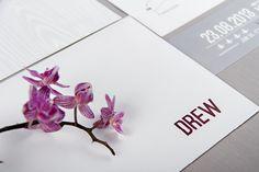 Chrystalace Wedding Stationery  Modern Purple and Grey Origami Invitation with envelope,three inserts and custom sleeve.