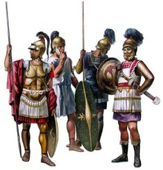 Late Hellenistic period hoplites and cavalryman (extreme right). The armies of Carthage followed the Hellenistic fashion quite closely due to their constant exposure to Greek culture. It would have been men uniformed in this way that battled the Roman republic during the Punic wars.