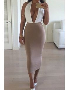 Fresh Act White Beige Sleeveless Plunge V Neck Backless Halter Bodycon Midi Dress - Sold Out Club Dresses, Sexy Dresses, Beautiful Dresses, Beige Dresses, Beautiful Ladies, Party Dresses, Christian Louboutin, Femmes Les Plus Sexy, One Piece Dress