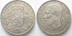 1868 Belgien BELGIUM 5 Francs 1868 Pos.A LEOPOLD II silver about UNC!!! # 96377 UNC-