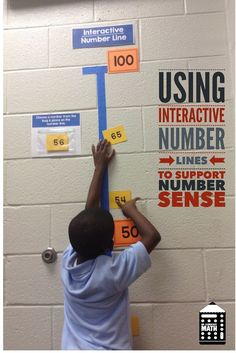 Older students need to move like this too! Learn how to use interactive number lines in your classroom to teach whole numbers, fractions and decimals. Use this fun and interactive math activity to develop conceptual understanding all students. Math Resources, Math Activities, Number Line Activities, Math Games, Mental Math Strategies, Les Mathes, Eureka Math, 2 Kind, Math Intervention
