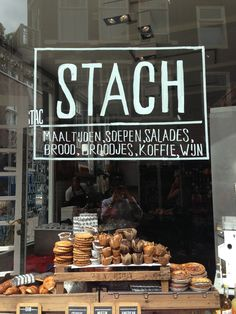 Stach sandwich shop and bakery, Amsterdam. Ideas and inspiration for deli and sandwich shop window displays.