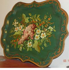 Huge Vintage Green Chippendale Tole Tray Hand Painted Floral Art Grapes Dogwood