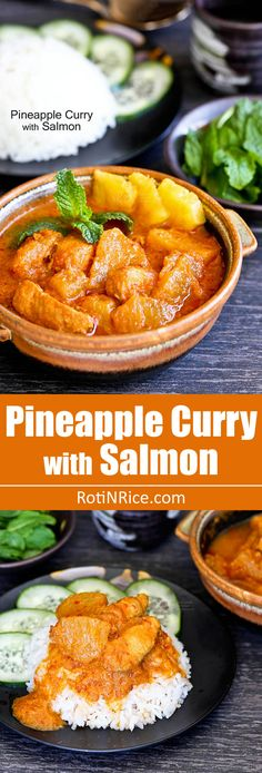 This spicy and tangy Pineapple Curry with Salmon and coconut milk is sure to whet your appetite. Delicious served with a steaming bowl of rice.   RotiNRice.com