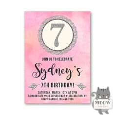 Silver Glitter 7th Birthday Invitations for Girls Pink and