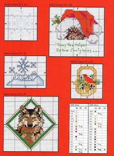 Christmas motifs, includes wolf ornament Color chart hard to read
