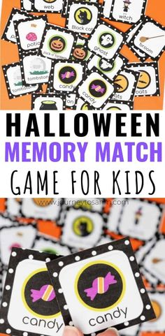 Fun Halloween printables free for kids of all ages. This Halloween Memory Match Game is perfect for families for preschoolers and even classroom parties. Cards include witches pumpkins ghosts candy and more. Halloween Tags, Free Halloween Games, Halloween Activities For Kids, Easy Halloween, Free Halloween Printables, Halloween Books For Kids, Halloween 2019, Halloween Stuff, Holidays Halloween