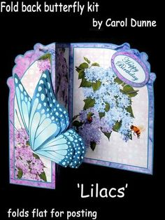 Fold back butterfly kit Lilacs on Craftsuprint designed by Carol Dunne - A pretty blue butterfly graces the front of this easy to make fold back card which is decorated with lilacs in shades of pale blue, pink and lilac.Folds flat for posting and has eay to follow instructions in the kit. - Now available for download!