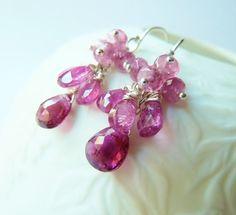 Pink Tourmaline earrings. Dangle earrings. Birthstone by TatianaG