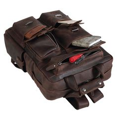 93f8b7624 Texbo Full Grain Cowhide Leather Multi Pockets 16 Inch Laptop Backpack  Travel Bag ** Be sure to check out this awesome product. (Note:Amazon  affiliate link)