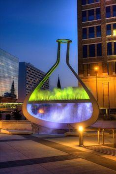 Vancouver artist Bill Pechter's flask art sculpture at Winnipeg's Millennium Library Plaza  vintagevillacollezione.com  villacollezioneboutique.com
