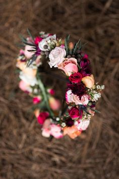 Steal-worthy jewel toned flower crown #cedarwoodweddings Passion Fruit & Berries :: Courtney+Jason | Cedarwood Weddings
