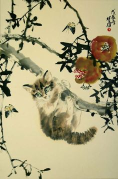 A beautiful painting of a kitten in a tree by Fang Chuxiong [方楚雄], (1950), Shantou City, Guangdong, People's Republic of China, ink and colour on paper, 68 x 46 cm, date unknown