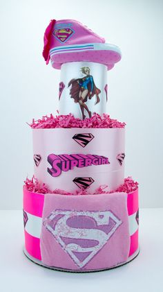 Supergirl Pink & White Superhero Comic Book Baby by EnkiConcepts
