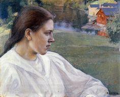 Pekka Halonen, Tyttö Rannalla (Aino Mäkinen), 1901, from The Life and Art of Pekka Halonen - http://www.alternativefinland.com/art-pekka-halonen/