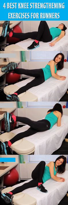.4 Best Knee Strengthening Exercises For Runners. If you do 2 to 3 sets of 10 on alternating days or on the days you're not going for your runs or for the treadmill runs, it's a great schedule... #kneeworkout #kneepain #runnersknee #kneestrengthening #kneeexercise #kneepainrelieve