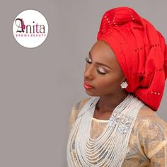 Nigerian wedding red sanya aso-oke by Molbaks makeup by Anita brows beauty, beads by Gee Balo photo by Tap studios 2