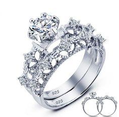 925 Sterling Silver Wedding Engagement Ring 1 Carat Created Diamond Wedding Ring