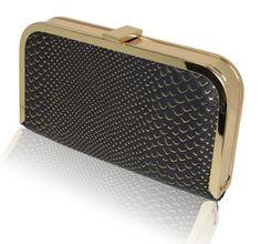 Trendy Black & gold edged snakeskin embossed hardcase clutch from Mimi & Thomas