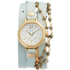Women's La Mer Collections Perth Wrap Leather Strap Watch, 22Mm ($162) ❤ liked on Polyvore featuring jewelry, watches, la mer watches, charm jewelry, wrap jewelry, wrap wrist watch and american jewelry