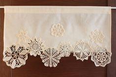 Cortina con tapetes de ganchillo café cortina cenefa por DecorAnna