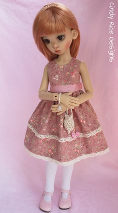 """A Plummy Fall"" hand made ensemble made for Kaye Wiggs BJDs.  Here is Gracie modeling her  new dress.  cindyricedesigns.com"