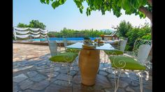 Our View and Outdoor - Villa Natura Zante - Outside there is a paved yard with a new private swimming pool where you can swim all day, enjoy some coctails. Two Storey House, Outdoor Furniture Sets, Outdoor Decor, Private Pool, Greek Islands, Swimming Pools, Coastal, Villa, Yard