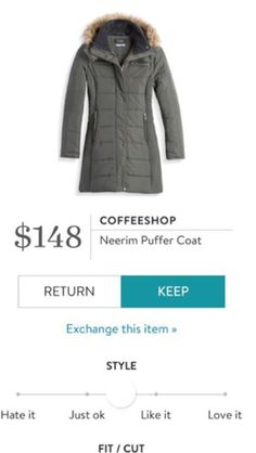 """Stitch Fix Fashion - Now you can have your own personal stylist. Stitch Fix is the first fashion retailer to deliver a shopping experience that is truly personalized for you. Fill out the Stitch Fix Style Profile and our personal stylists will handpick a """"Fix"""" of five clothing items and accessories unique to your taste, budget and lifestyle. Simply buy what you like and return the rest. CoffeeShop Neerim Puffer coat"""