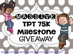 I Love First Grade TPT 75K Milestone Giveaway 6 amazing prize packs!