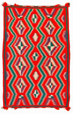 Germantown Dazzler Navajo Textile. This and more important Native American textiles for sale on CuratorsEye.com
